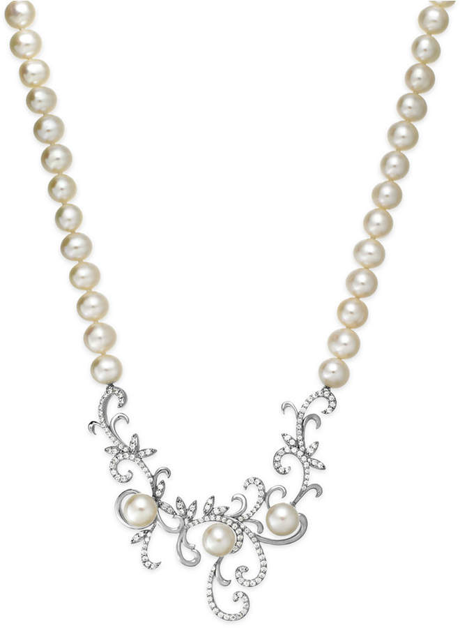 Arabella Cultured Freshwater Pearl (7 mm) and Swarovski Zirconia Swirl Pendant Necklace in Sterling Silver