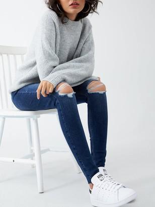Very Ella High Waist Knee Rip Skinny Jean - Dark Wash