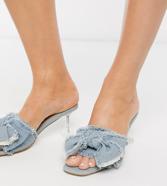 Asos DESIGN Wide Fit Honesty bow mules with flared heel in denim