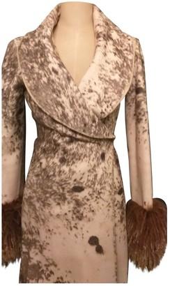 Roberto Cavalli Beige Wool Coat for Women
