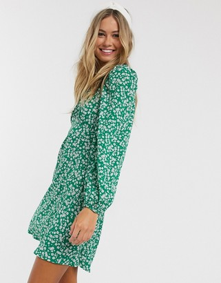 New Look square neck mini dress in green floral print