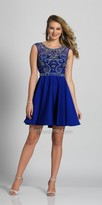 Dave and Johnny Scroll Beaded Open Back Fit and Flare Homecoming Dress