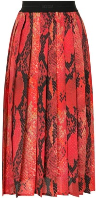 MSGM Snake-Print Pleated Skirt