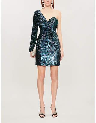 Lavish Alice One-sleeve sequinned mini dress