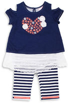 Little Lass Girls 2-6x Two-Piece Cold-Shoulder Top and Leggings Set