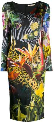 Roberto Cavalli Paradise Found print V-neck dress