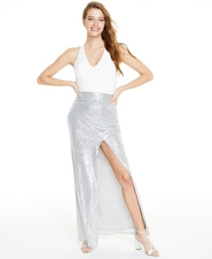 City Studios Juniors' Cross-Back Sequined Gown, Created for Macy's