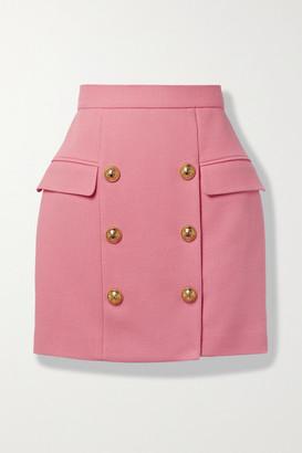 Balmain - Button-embellished Cotton-pique Mini Skirt - Pink
