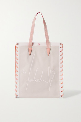 Christian Louboutin Cabalace Small Lace-up Leather-trimmed Printed Canvas Tote - Pink