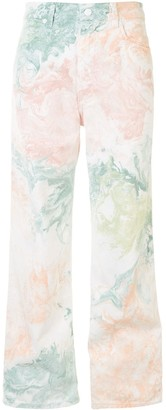 Eckhaus Latta Abstract-Print Wide-Leg Jeans