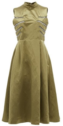 Noir Kei Ninomiya Eyelet-embellished Open-back Satin Midi Dress - Khaki