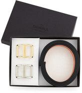 Shinola Reversible Leather Belt Boxed Gift Set, Black/Bourbon