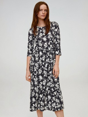 MANGO Ditsy Floral Midi Dress - Black
