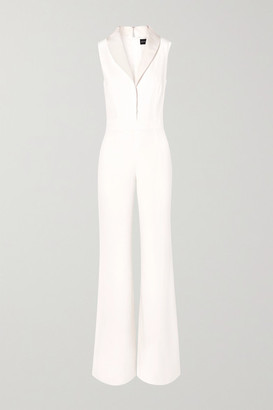 Brandon Maxwell Faille-trimmed Silk Crepe De Chine Jumpsuit - Ivory