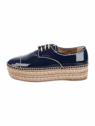 Prada Patent Leather Espadrilles Blue