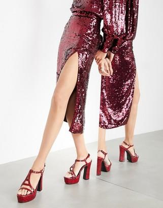 ASOS EDITION sequin split wrap midi skirt in burgundy