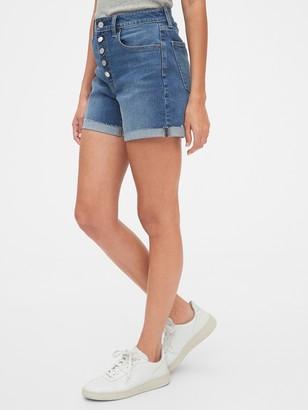 "Gap 4"" High Rise Curvy Denim Shorts With Raw Hem"