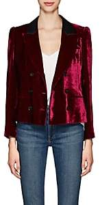 Masscob Women's Marion Velvet Double-Breasted Crop Blazer - Wine
