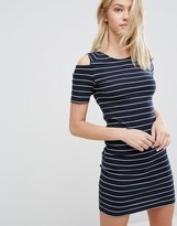 Jdy J.d.y Striped Bodycon Dress With Cold Shoulder