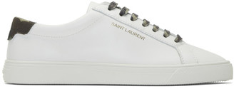 Saint Laurent White Camouflage Print Andy Sneakers
