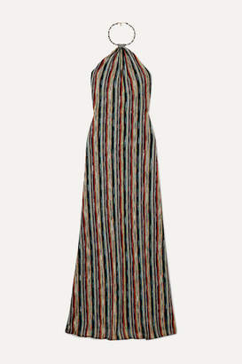Missoni Striped Metallic Crochet-knit Halterneck Maxi Dress - Black