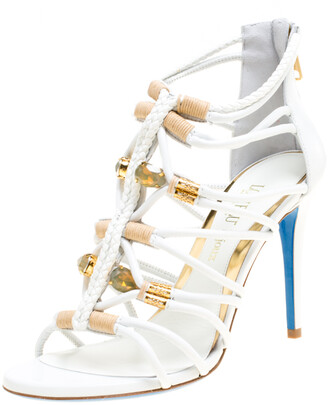 Loriblu Bijoux White Leather Crystal Embellished Strappy Sandals Size 38
