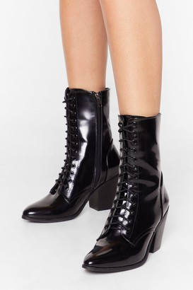 Nasty Gal Womens Together At Last Patent Lace-Up Boots - Black