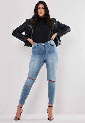 Missguided Plus Size Blue Ripped Jeans