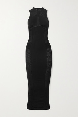 Unravel Project Mesh-paneled Stretch-jersey Maxi Dress - Black
