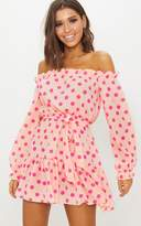 PrettyLittleThing Dusty Pink Polka Dot Bardot Tie Waist Shift Dress