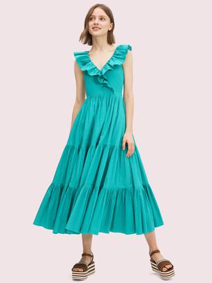 Kate Spade Poplin Ruffle Tiered Dress