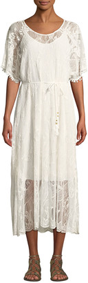 Johnny Was Scoop-Neck Short-Sleeve Sheer Lace Midi Dress w/ Tasseled Tie-Belt