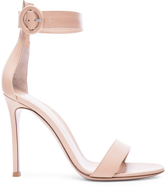 Gianvito Rossi Leather Portofino Heels in Nude | FWRD