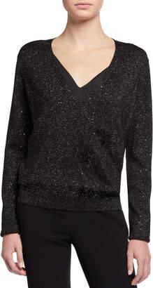 Lafayette 148 New York Sequin Metallic V-Neck Sweater