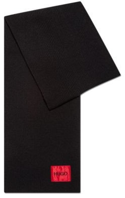 HUGO BOSS Wool Blend Scarf With Ribbed Structure And Logo Patch - Black