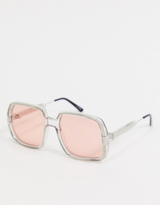 Spitfire Rising With The Sun oversized retro sunglasses in grey with pink lens