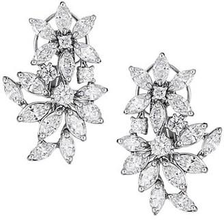 Zydo Luminal 18K White Gold & Diamond Flower Custer Drop Earrings