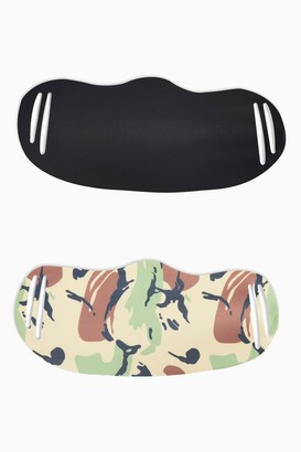 Topshop Womens **2 Pack Camouflage Print And Black Fashion Face Mask - Khaki
