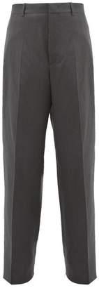Jil Sander High Rise Wool Blend Twill Trousers - Mens - Dark Grey