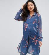 Mama Licious Mama.licious Mamalicoius Printed Woven Longline Shirt