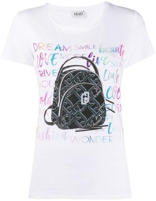 Liu Jo short sleeve monogram backpack T-shirt