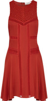 A.L.C. Elin Silk-Blend Crochet-Paneled Pintucked Silk Crepe De Chine Mini Dress