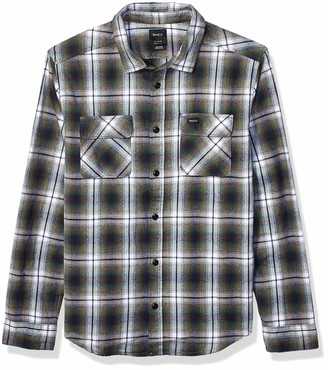 RVCA Men Hostile Plaid Button-Up Flannel Green Small