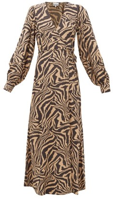 Ganni Zebra-print Crepe Wrap Dress - Beige Multi