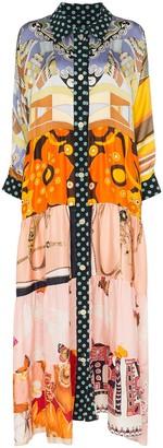 Rianna + Nina Polka Dot and floral print silk maxi dress