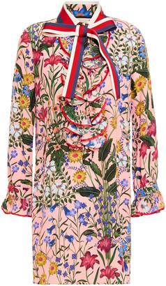 Gucci Ruffled Floral-print Silk Crepe De Chine Mini Dress