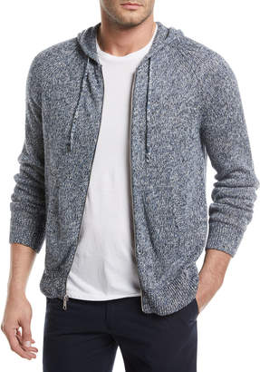 Vince Marled-Knit Linen Front-Zip Hoodie