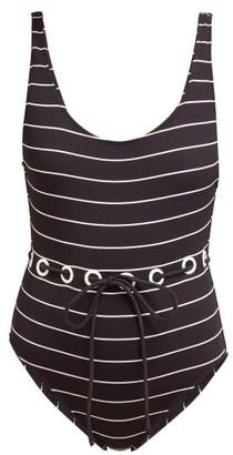 Solid & Striped The Anne-marie Tie-waist Swim Suit - Black Stripe