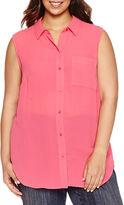 Liz Claiborne Long Sleeve Woven Blouse-Plus