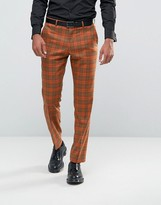 Asos Slim Suit Pants In Bold Rust Check